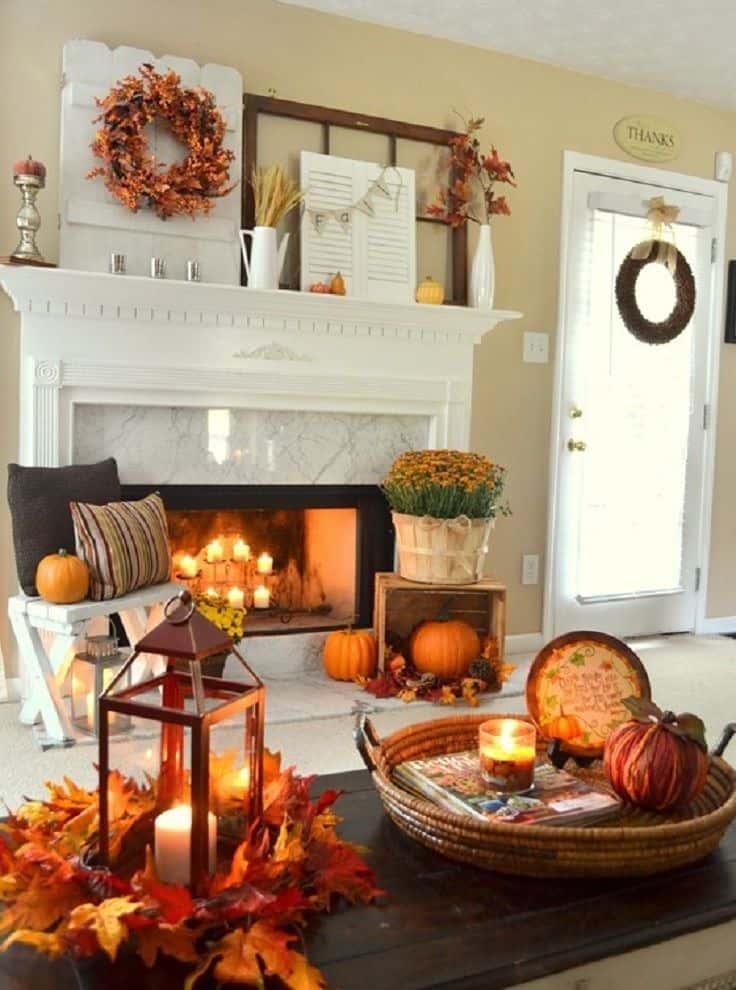 jesenné dokorácie v obývačke