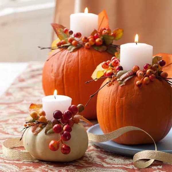 oranzove jesenné tekvice pouzite ako svietniky
