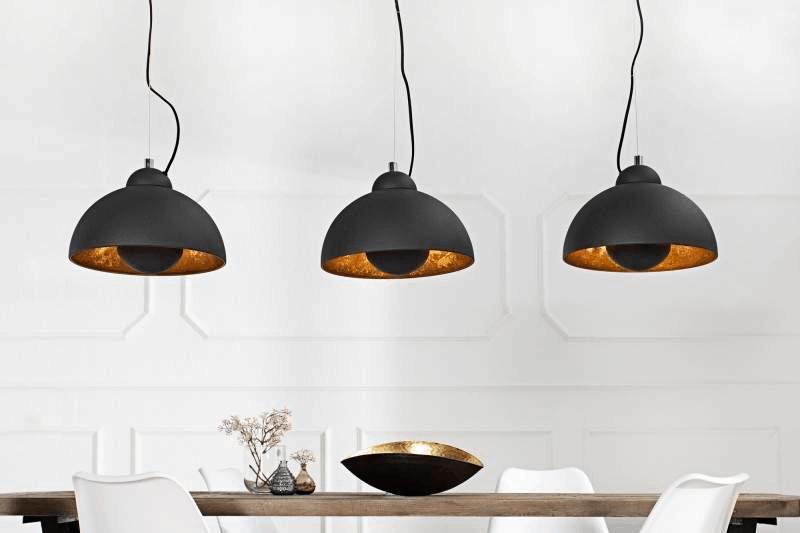 Čierno-zlatá závesná lampa Studio 3