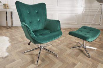 Drehstuhl Lounger 100-110cm smaragdzelená zamat