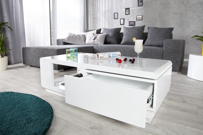 biely konferenčný stolík s úložným priestorom