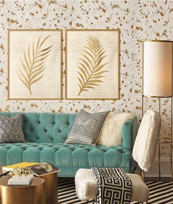 zlatá farba v interiéri