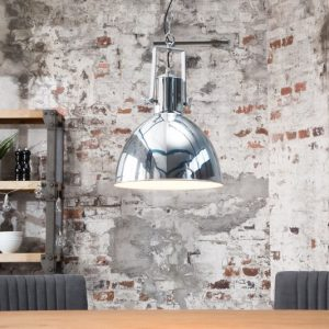 Závesná lampa Factory II 40cm chróm biela