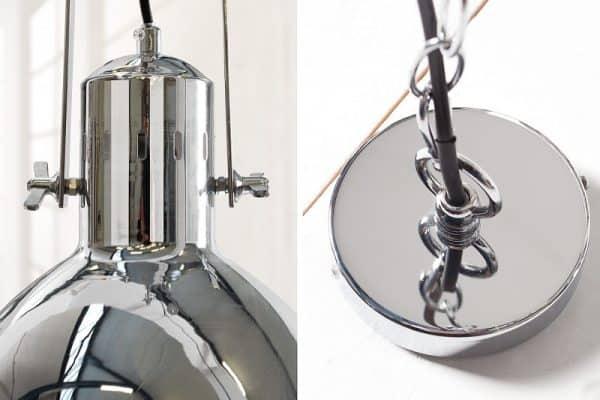 Chrómovo-biela závesná lampa Factory II 40cm