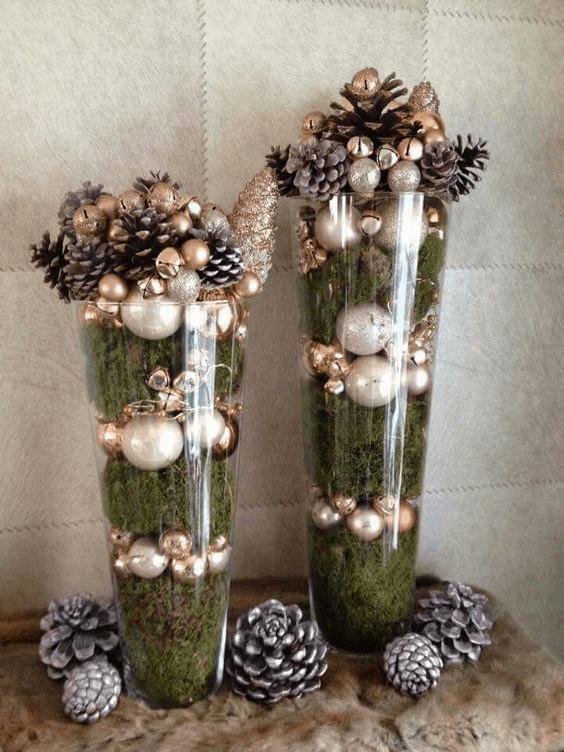 vianočné dekorácie z machu