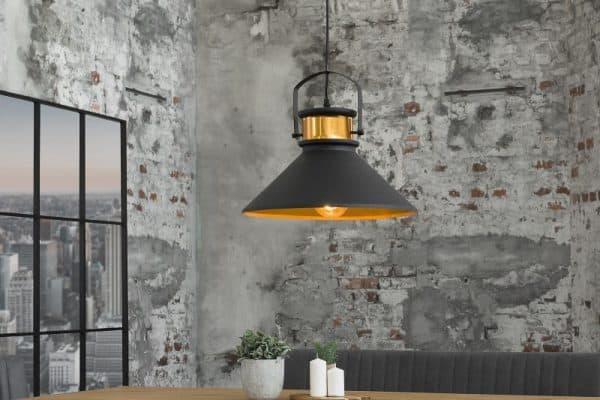 Závesná lampa Luz III 37cm čiernozlatá
