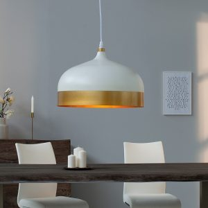Závesná lampa ModernChic II 33cm biela zlatá