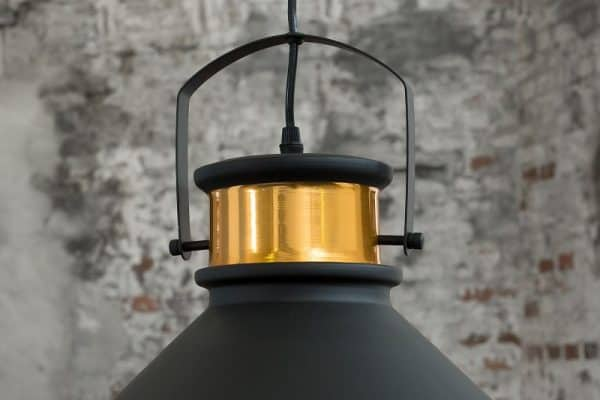 Čierno-zlatá závesná lampa Luz III 37cm