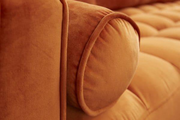 Oranžová zamatová rohová sedačka Cozy Velvet