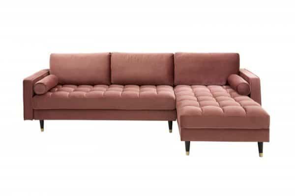 Ružová zamatová rohová sedačka Cozy Velvet
