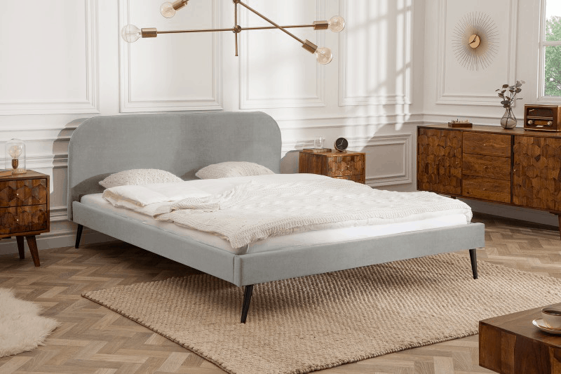 siva minimalisticka postel