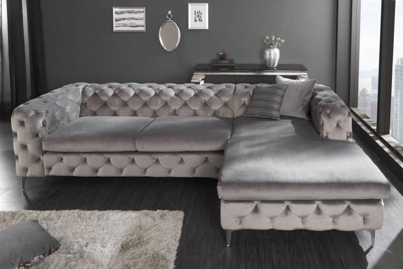 Sivá zamatová rohová sedačka Modern Barock