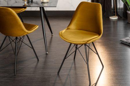 Žltá jedálenská stolička Scandinavia Retro