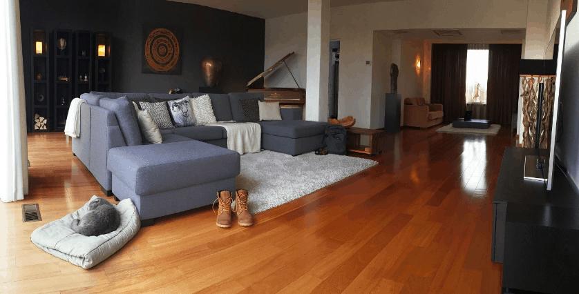 obývačka so sivou sedačkou