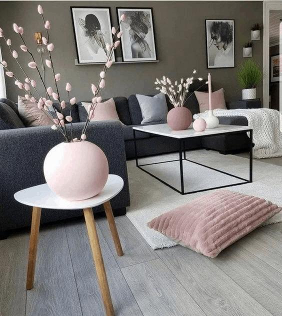 ružovo sivá obývačka