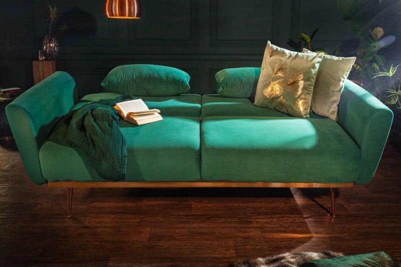 Smaragdovozelená rozkladacia pohovka Bellezza 208cm