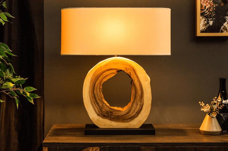 stolova lama s drevenym podstavcom