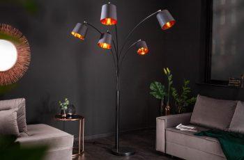 Stojanová lampa Levels 202cm čiernozlatá
