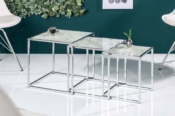 Konferenčný stolík Elements set 3ks sklo mramor