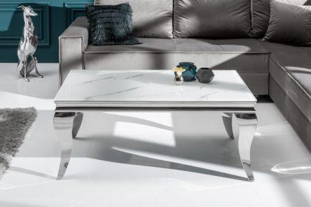 Konferenčný stolík Modern Barock 100cm strieborná mramor