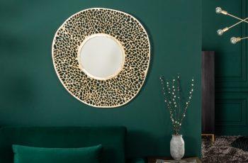 Nástenné zrkadlo Leaf S 76cm zlatá