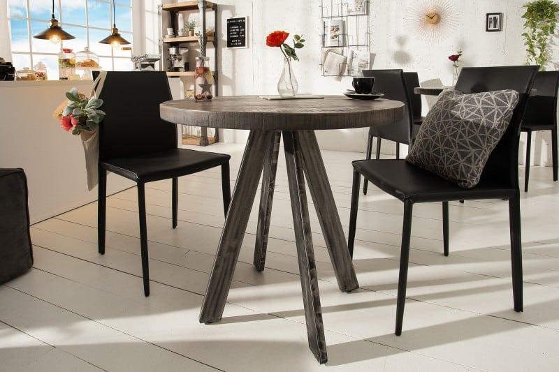 Sivý okrúhly jedálenský stôl
