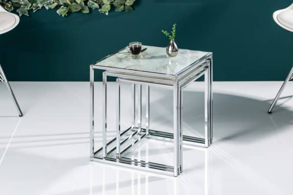 Konferenčný stolík Elements set 3ks - mramor