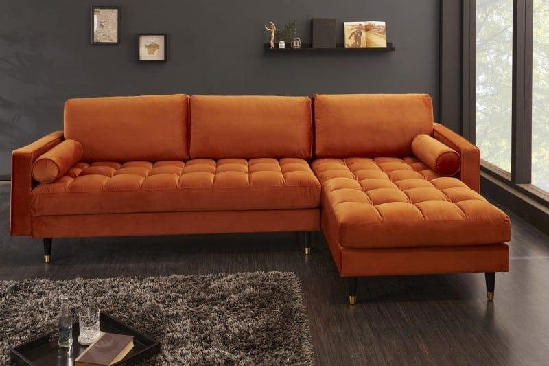 oranžová rohová sedačka