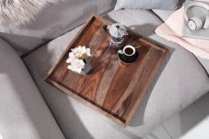 stolík (podnos) Makassar 50cm sheesham smoke