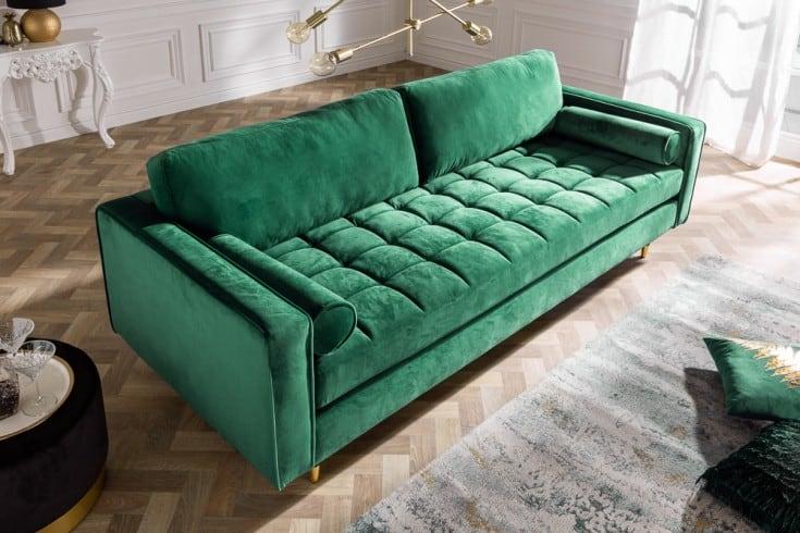 zelená zamatová sedačka