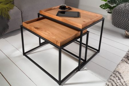 Konferenčný stolík Elements set 2ks dub stolík (podnos)