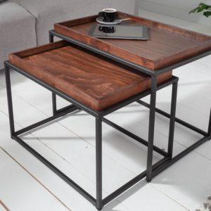 Konferenčný stolík Elements set 2ks mocha buk stolík (podnos)