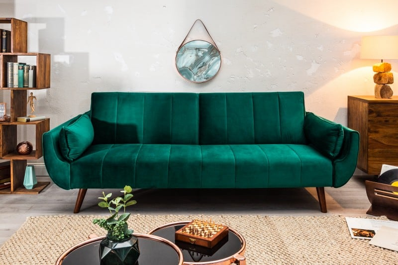 Rozkladacia pohovka Divani 215cm zelená zamat