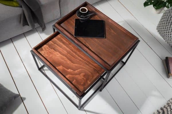 Konferenčný stolík Elements set 2ks mocha buk (podnos)