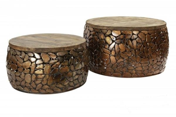 Konferenčný stolík Stone Mosaic set 2ks meď