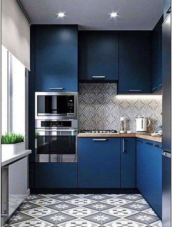 6. jednoduchá modrá kuchyňa