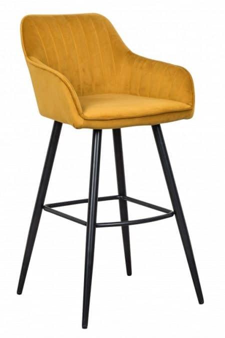 Žltá zamatová barová stolička Turin s područou