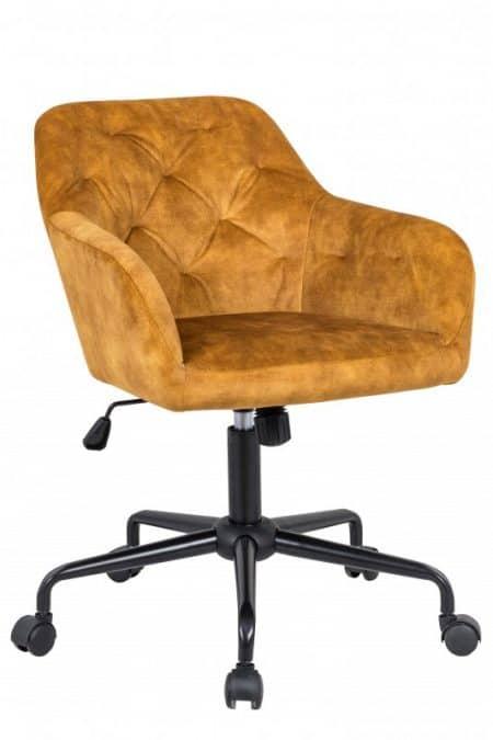 Žltá zamatová kancelárska stolička Dutch Comfort