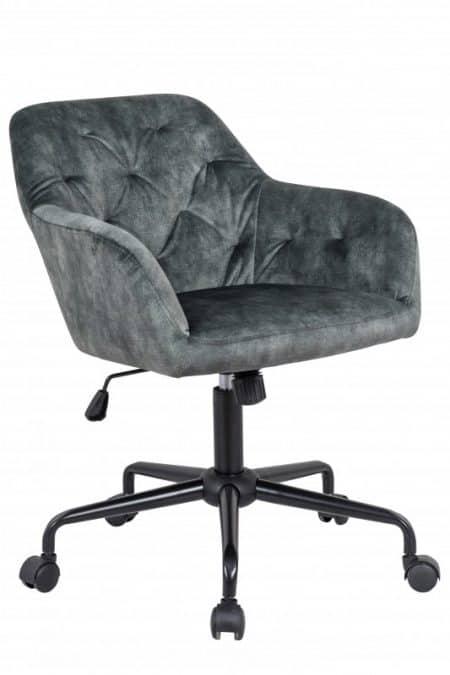 Zelená zamatová kancelárska stolička Dutch Comfort