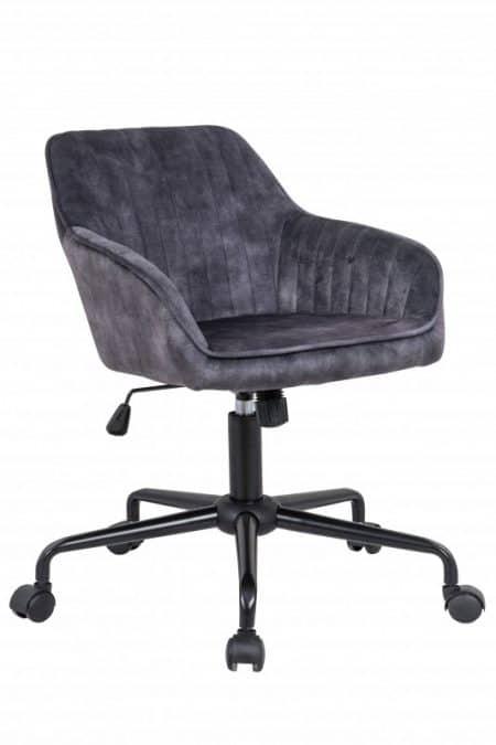 Sivá zamatová kancelárska stolička Turin s područou