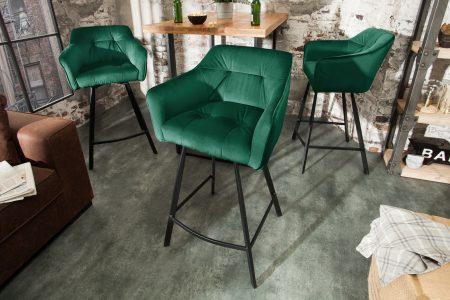 Zelená barová stolička Loft 100cm s područou