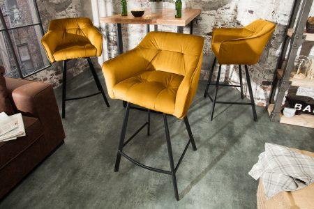 Žltá barová stolička Loft 100cm s područou