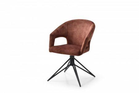 Hnedá zamatová jedálenská stolička Eternity