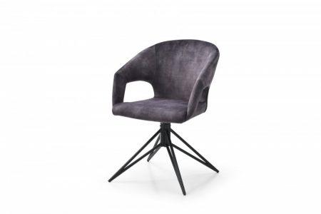 Sivá zamatová jedálenská stolička Eternity