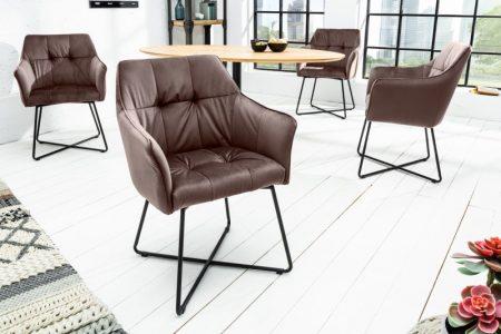 Hnedá zamatová jedálenská stolička Loft