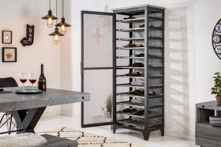 Skriňa na víno Bodega 184cm sivá z píniového dreva
