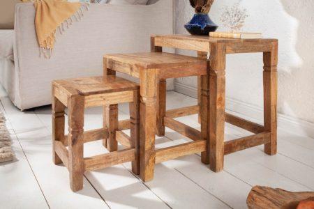 Konferenčný stolíke Finca set 3ks Mango prírodná 45cm