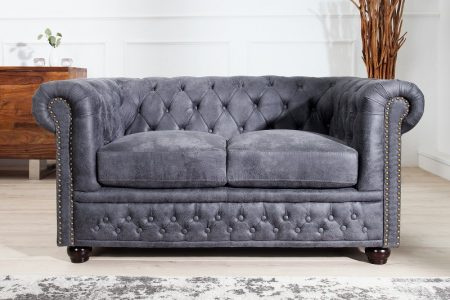 Sofa Chesterfield II dvoják 150cm sivá antik