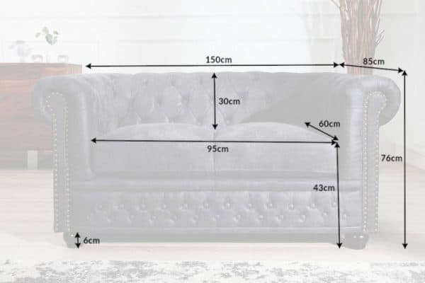 Sofa Chesterfield II dvoják 150cm sivá antik