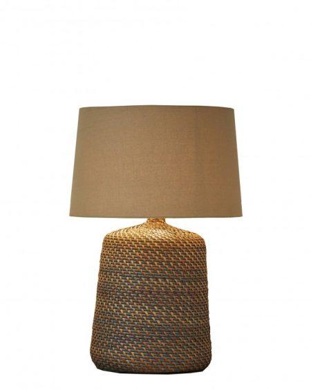 Stolová lampa Corinn 96cm ratan sivá béžová